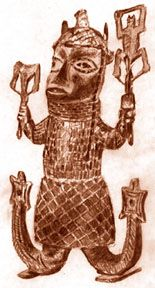 "Olokun, the sea god of the Yoruba people, lives in a palace under the sea, with human and fish attendants. His name means ""owner of the sea"". Once, Olokun challenged the sky god, Olorun."
