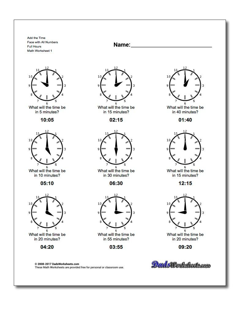 Simple Addition Of Minutes To Whole Hours Worksheets Clock Worksheets Multiplication Worksheets Math Fact Worksheets [ 1025 x 810 Pixel ]