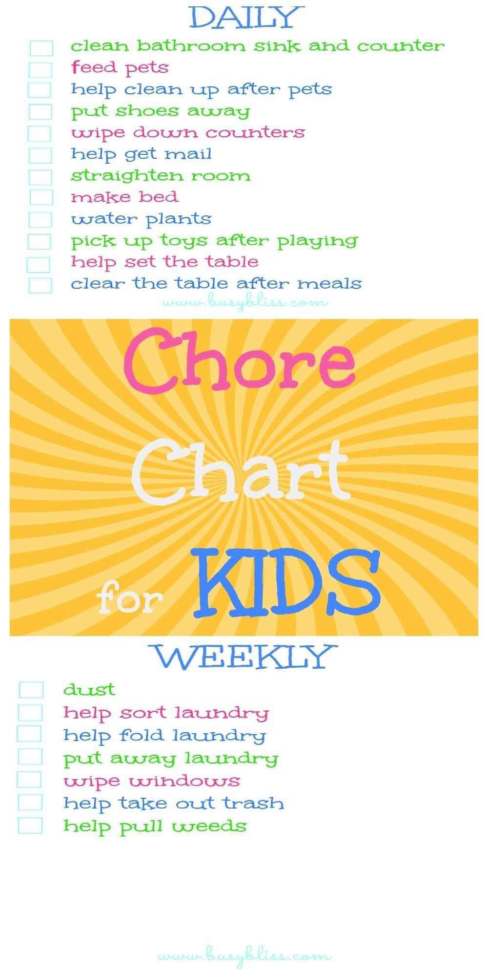Chore Chart For Kids  Weekly Chore Charts Weekly Chores And Parents