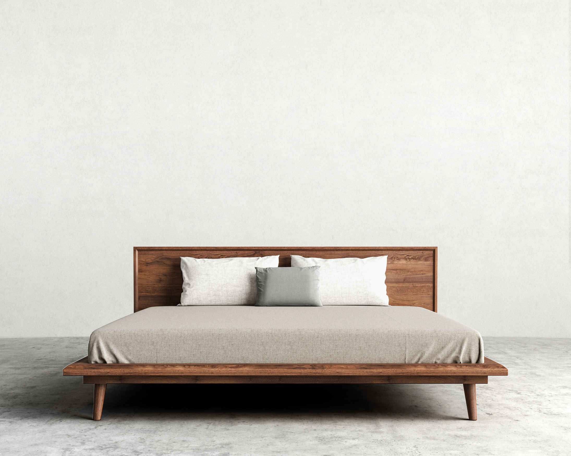 Asher is a mid-century modern inspired bed with tapered legs and ...