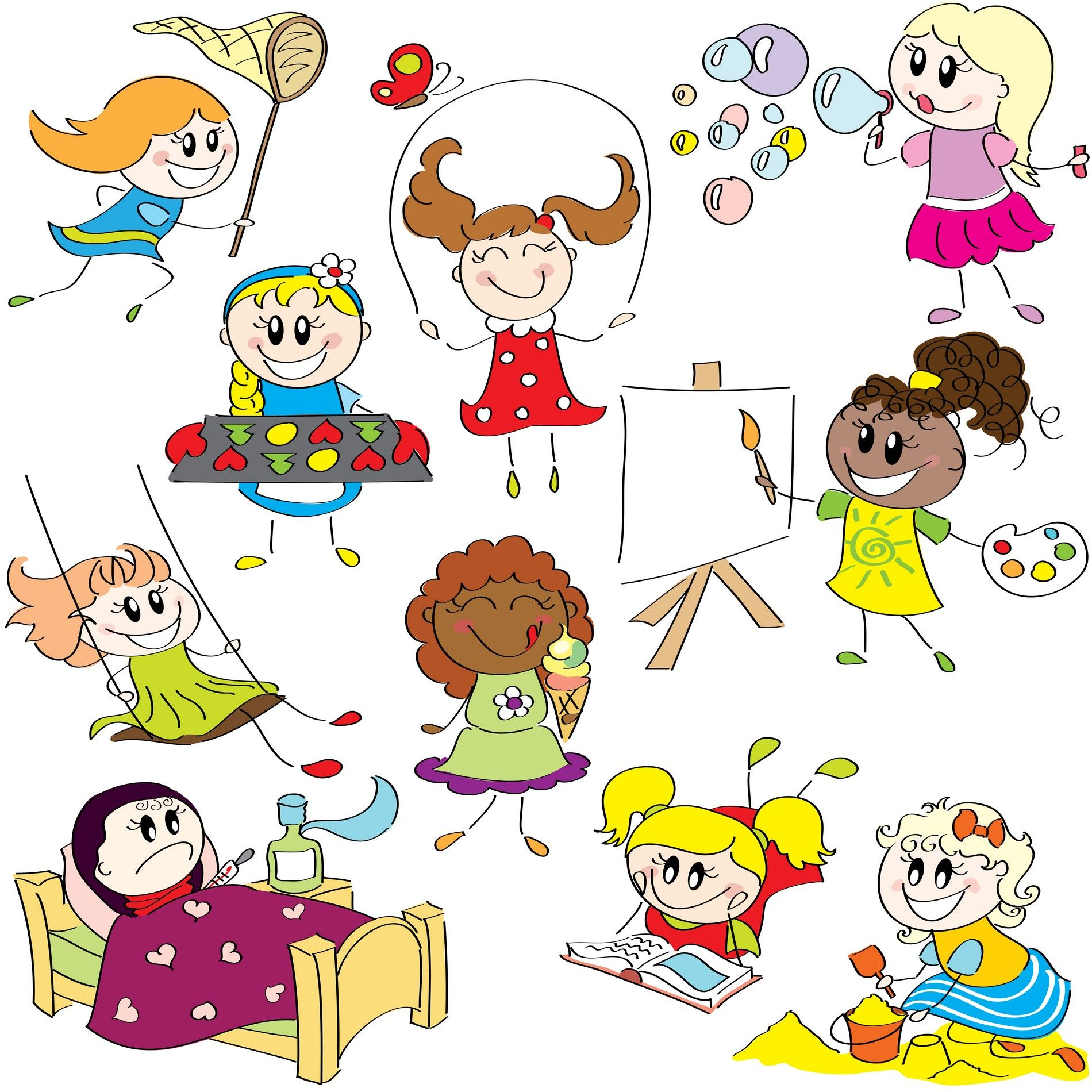 cartoon children kids people 07 free vector downloadsvector