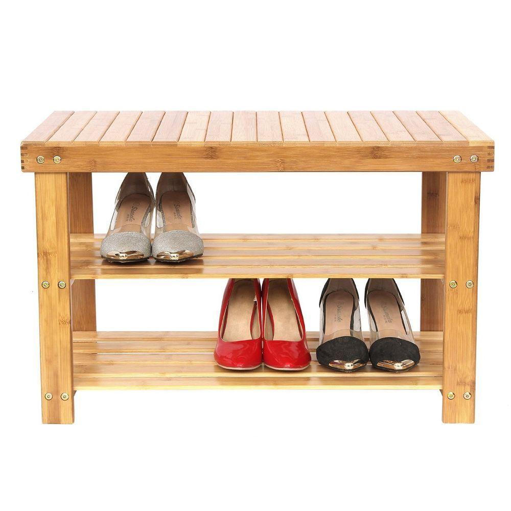 Shoe Storage Bench Wood Shelf Organizer Natural Bamboo Closet