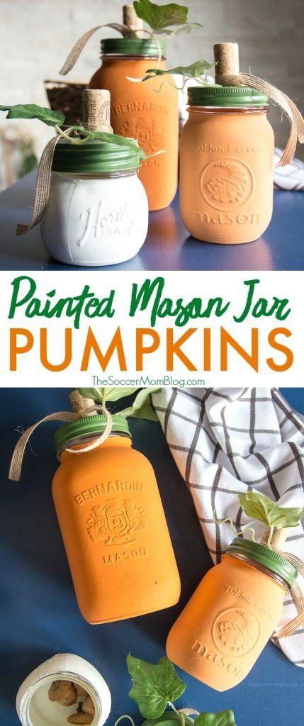 DIY Painted Mason Jar Pumpkins (with Video) images