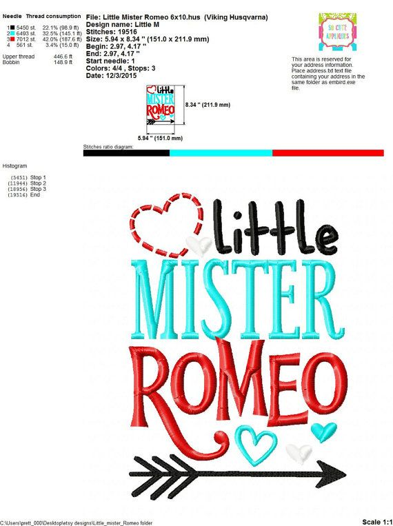 Embroidery design 5x7 6x10 Little Mister Romeo by SoCuteAppliques