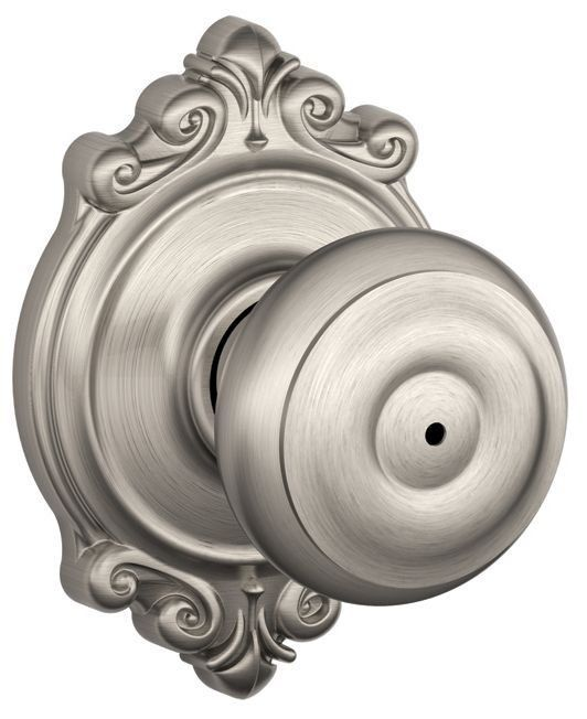 Schlage F40 GEO BRK Privacy Georgian Door Knobset With The Decorative  Brookshire Satin Nickel