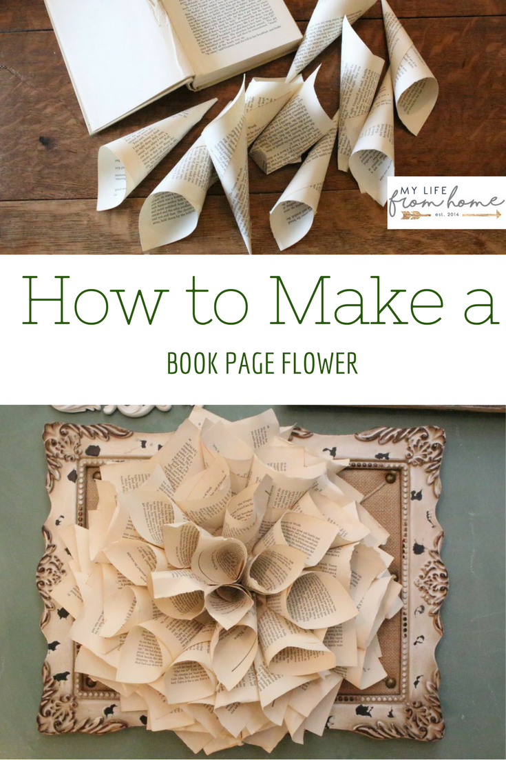 Book Page Flower White Cottage Home Living Book Crafts Diy Book Book Page Crafts