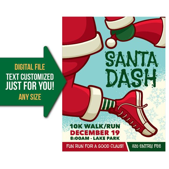 santa dash fun run 10k 5k run holiday winter event flyer