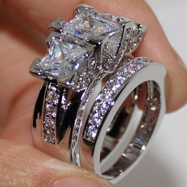Cubic Zirconia Princess Cut 3 Stone Wedding Bridal Ring Set Women/'s