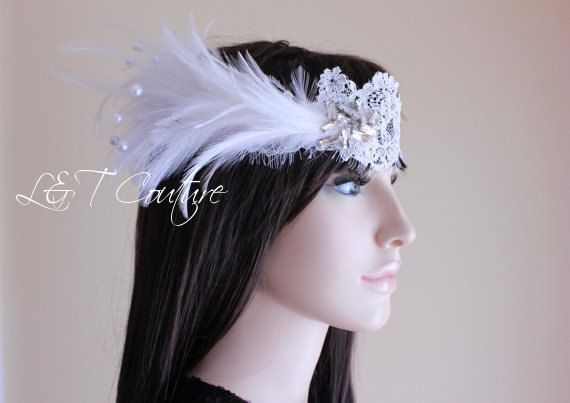 Feather Headband, Great Gatsby headpiece, Flapper headband, roaring 20's wedding hairpiece, Great gatsby bride, art deco, READY TO SHIP by LTCoutureAtelier on Etsy