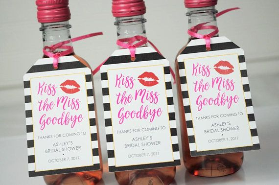 Bridal Shower Favor Tags Kiss The Miss Goodbye Mini Wine