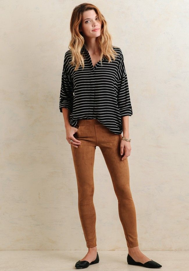 Get in the spirit of fall with these unbelievably soft camel-brown leggings crafted in faux micro suede for the most comfortable fit. Complete with an elastic waistband and pockets at the back ...