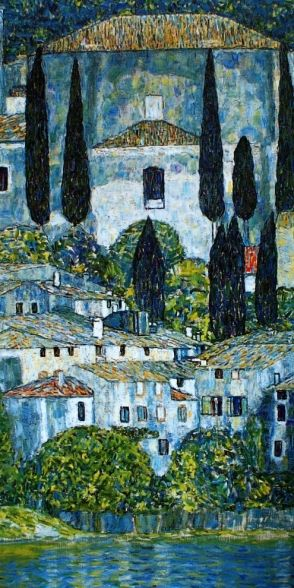 "Gustav Klimt's ""Church in Cassone (Landscape with Cypresses)1913 ~ sold for $43.2 million in 2010"