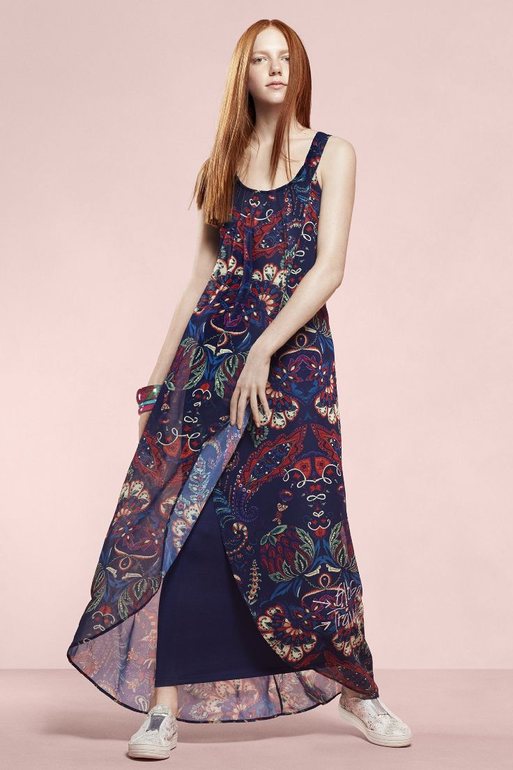 Sleeveless blue dress for women with a crossover layer of printed chiffon