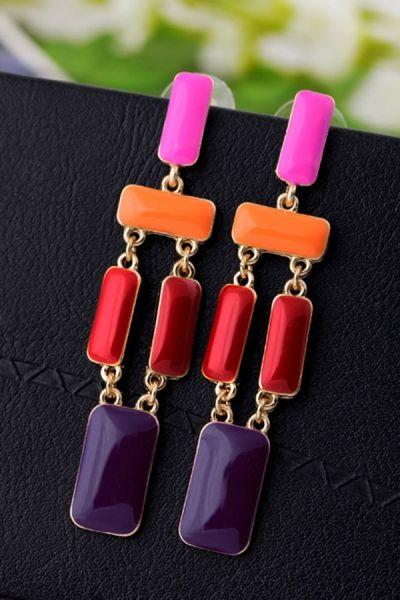 Contrast Dangling Square Earrings OASAP.com