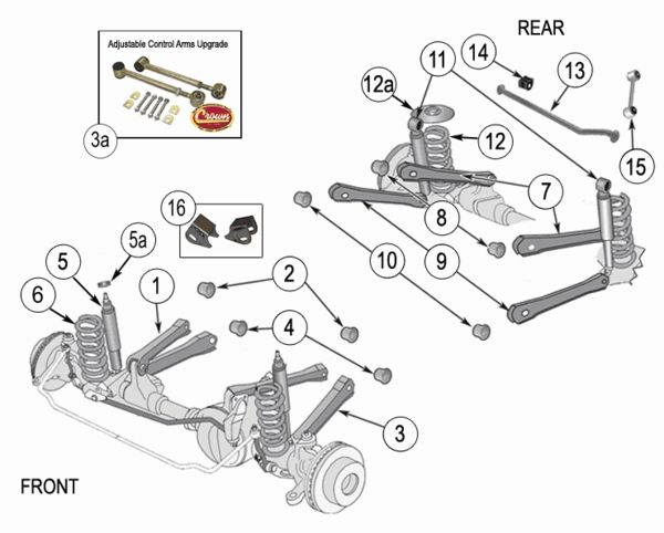 jeep wrangler tj suspension parts exploded view diagram years 1997 rh pinterest com jeep suspension parts diagrams 1998 Jeep Cherokee Parts Diagram