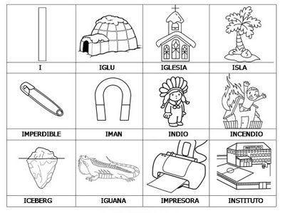 Las Vocales Para Colorear Aprendizaje Palabras Con I