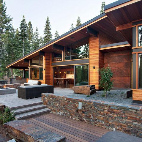 Love The Mix Of Materials Board Formed Concrete Fire Pit Bench And Grill Mix Of Concrete Steel Wood Camp House Modern Mountain Home Architecture House