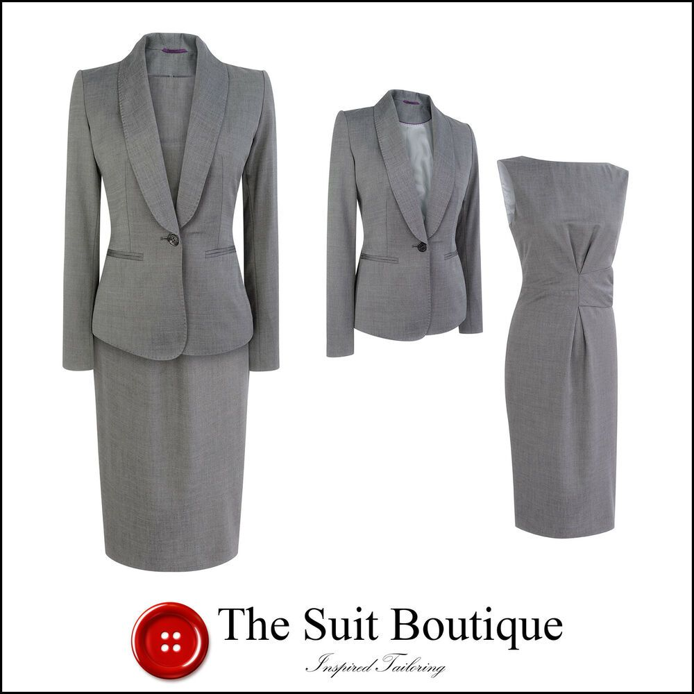 Austin Reed Grey Wool Shift Dress Suit Size Uk10 8 Us6 4 Womens Ladies Zhenskie Delovye Kostyumy Kostyum Garderob