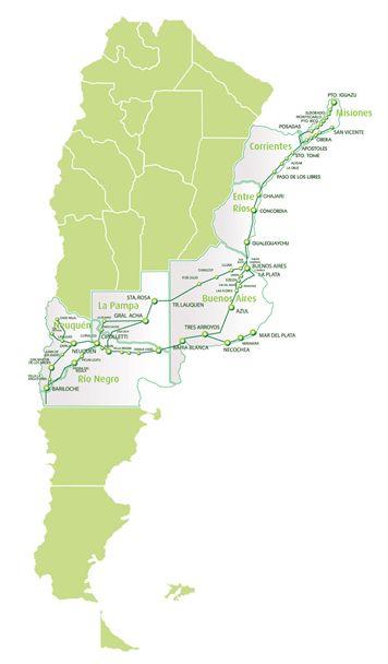 Argentina Bus Company Called Via Bariloche South America - Argentina bus map