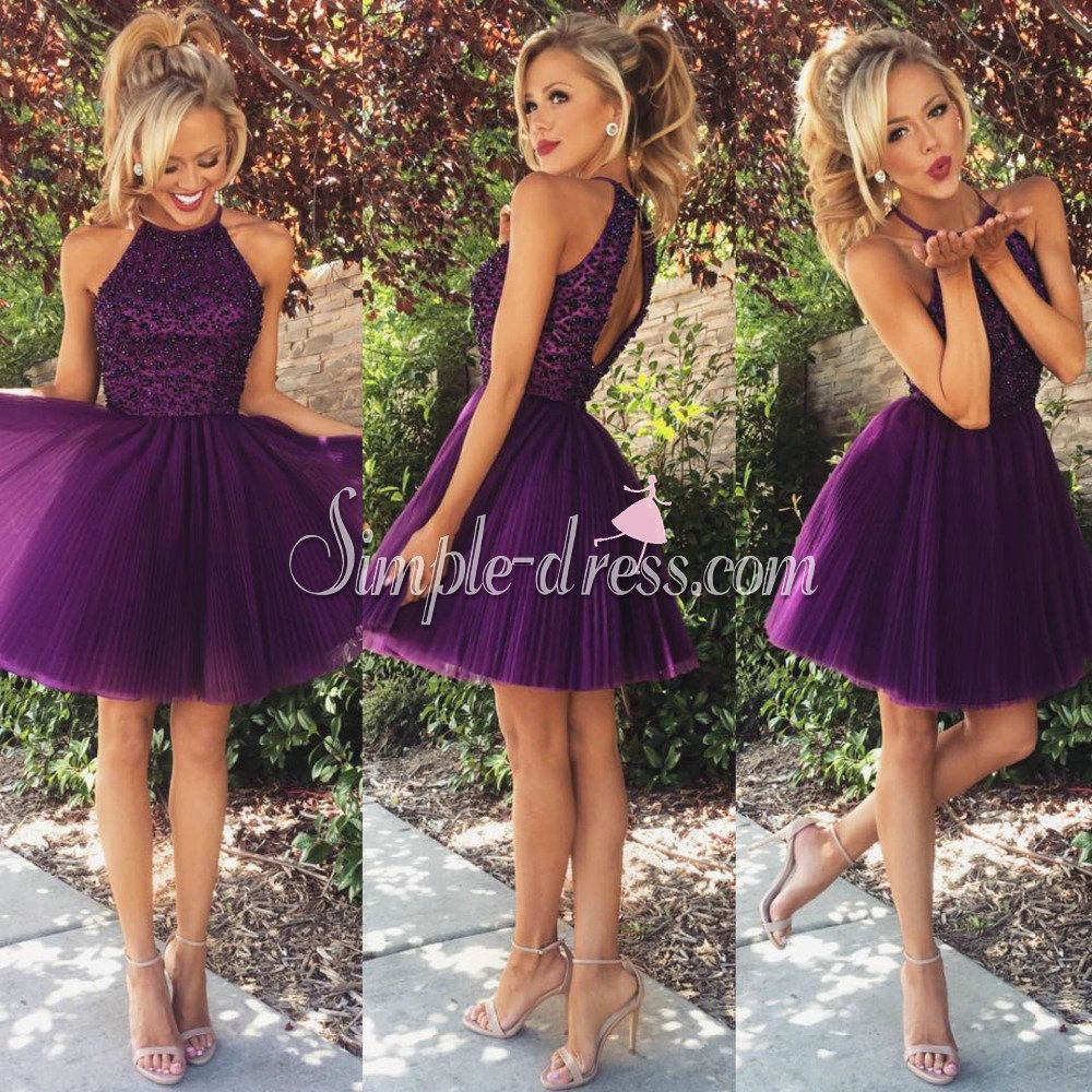 Hotselling aline scoop beaded purple short homecoming dresses