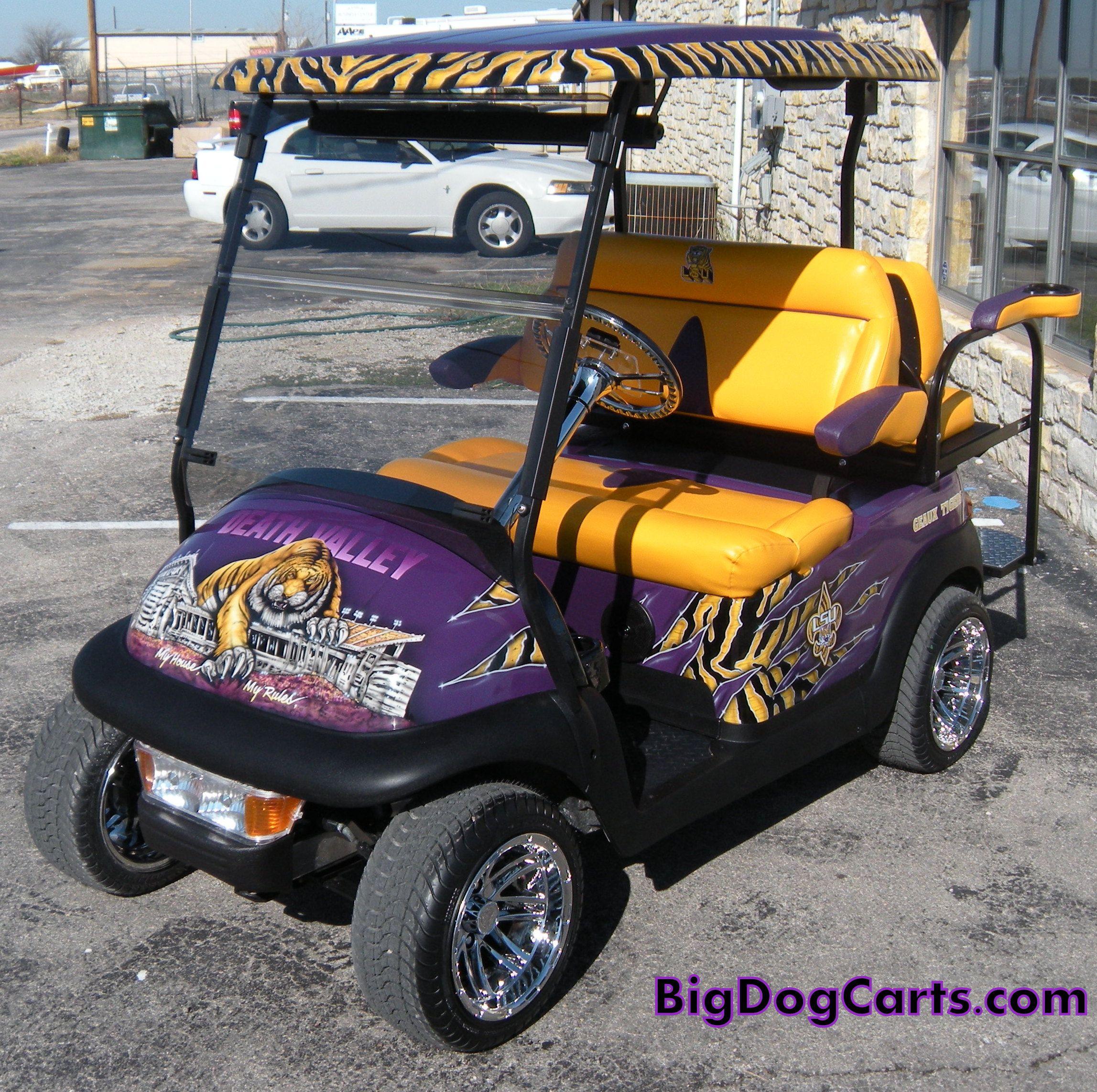 LSU Tigers cart. Built on a Club Car Precedent. This is one killer on lsu university, lsu wagon, lsu women's gymnastics, lsu sorority houses, lsu iphone wallpaper, lsu men's soccer, lsu tool box, lsu pants, lsu college football, lsu body paint, car cart, lsu texas a&m, lsu memes, lsu dorms, lsu men's basketball, lsu fire truck, lsu beanie, lsu swimming,