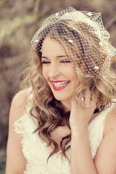 Half Up Part Wedding Hair Brunette Birdcage Veil