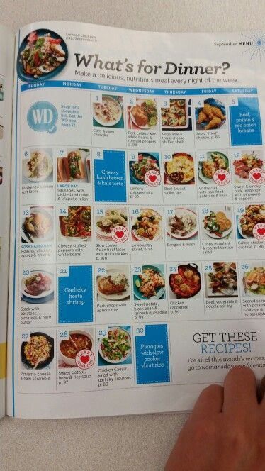 Calendar of meals