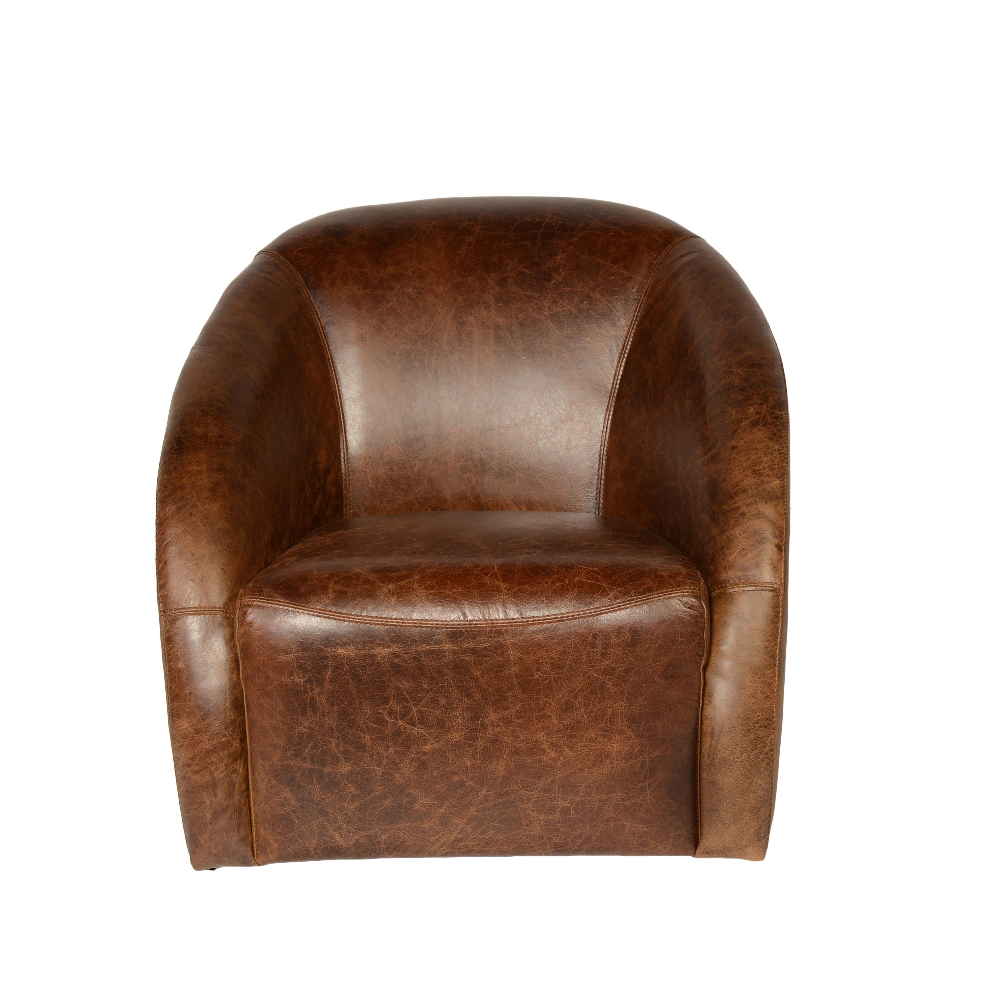 Lazzaro Leather Maryland Coco Brompton Swivel Tub Chair (Brown Leather Swivel  Tub Chair) (