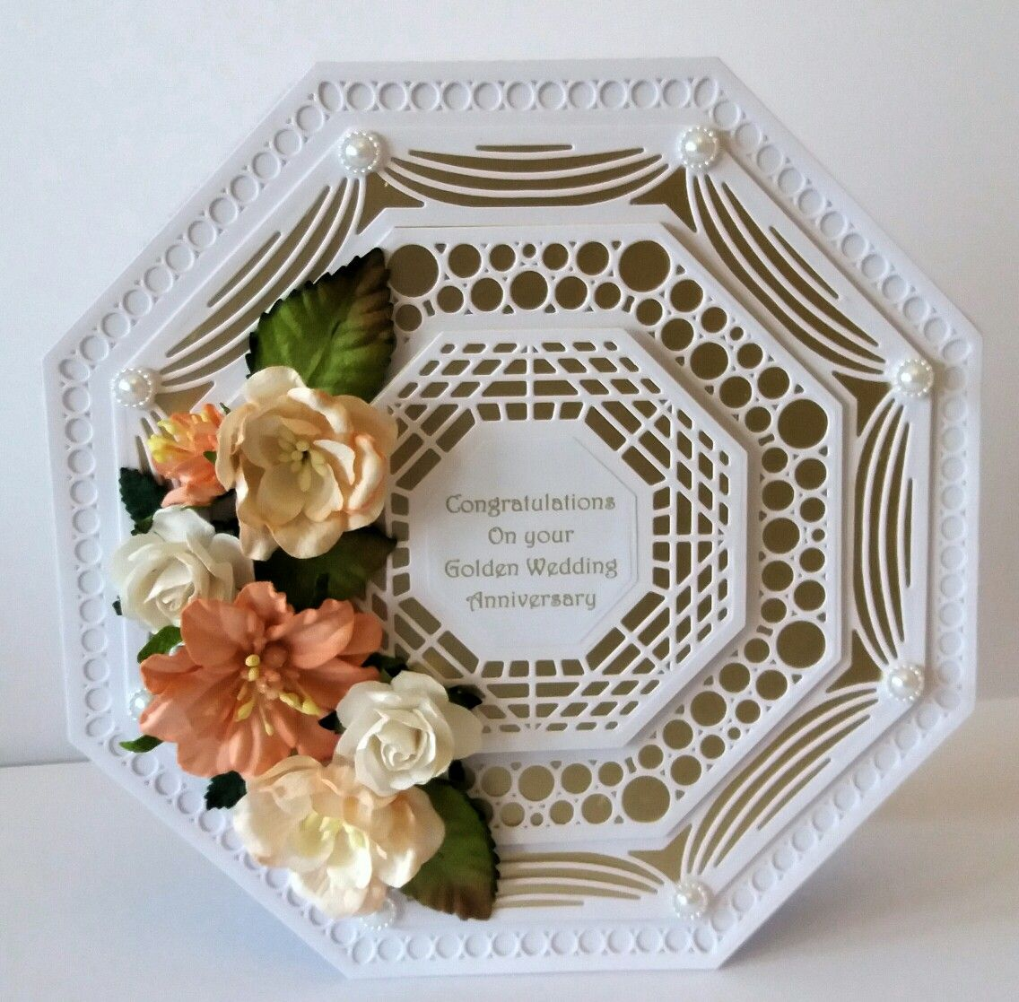 Golden Wedding Anniversary Card Is Approximately 8x8 Base And