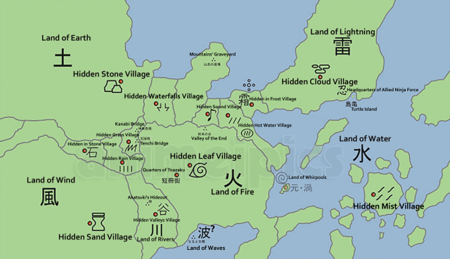 Naruto World Map Lands and Hidden Villages | Naruto Geography