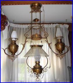 antique copper kerosene hanging lamp | ... Stunning Antique Duplex Hanging Converted Parlor Oil Lamp Copper WOW