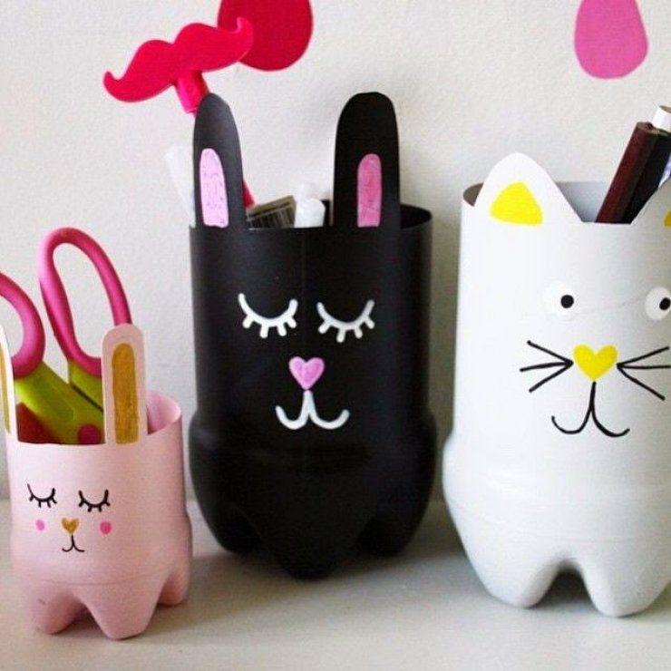 Plastic Bottle Pen Holder Diy Ideas Diy Projects For Kids Cute