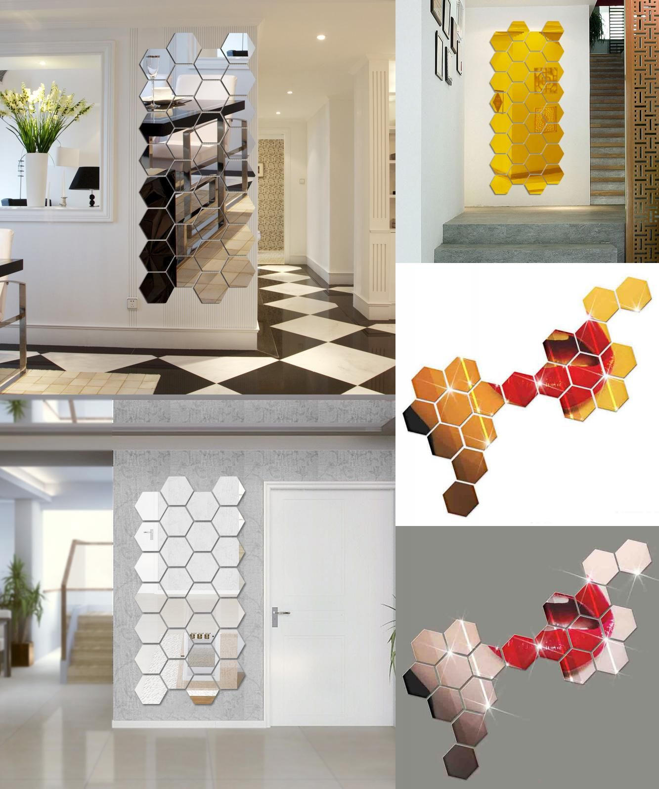 Visit to Buy 7 Piece Hexagon Acrylic Mirror Wall ...