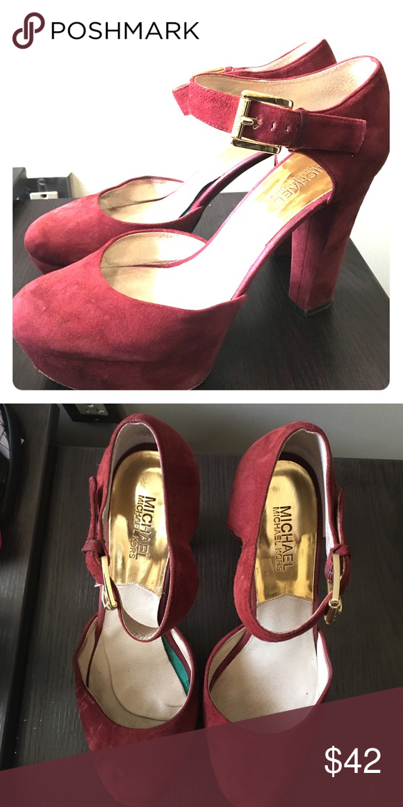 Burgundy Michael Kors chunky heels