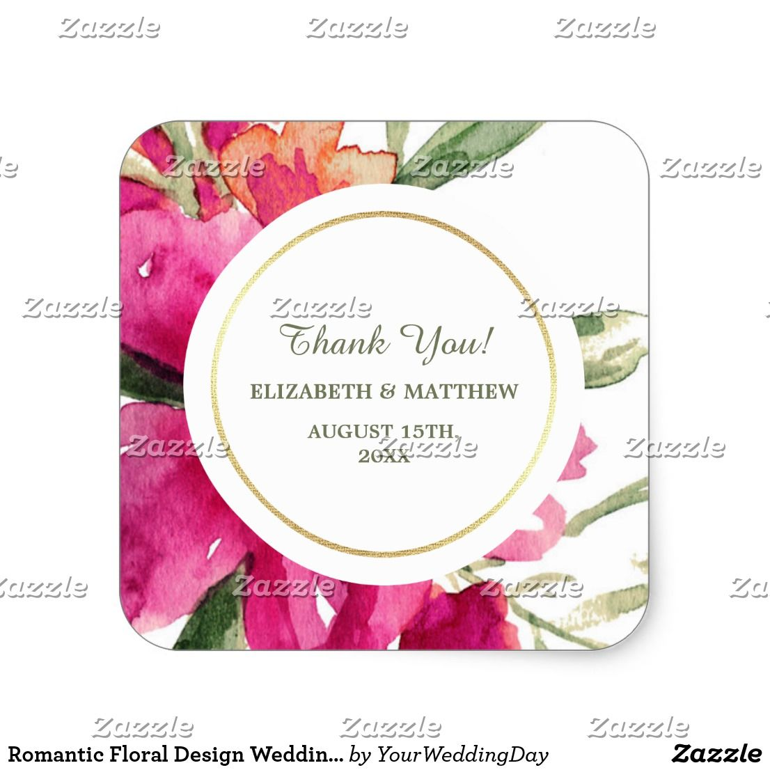 Romantic Floral Design Wedding Favor Stickers | Bridal shower ...