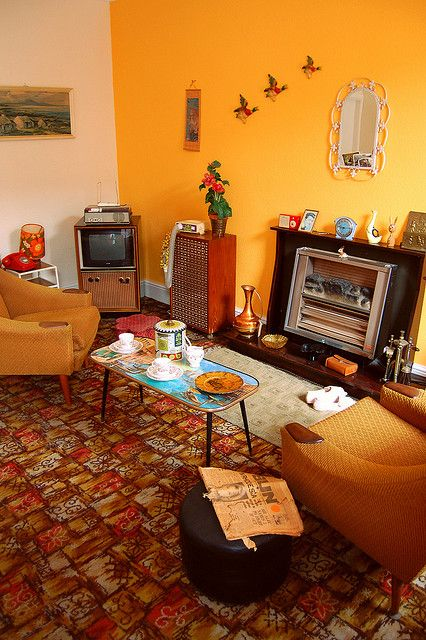 living room 1960s decor