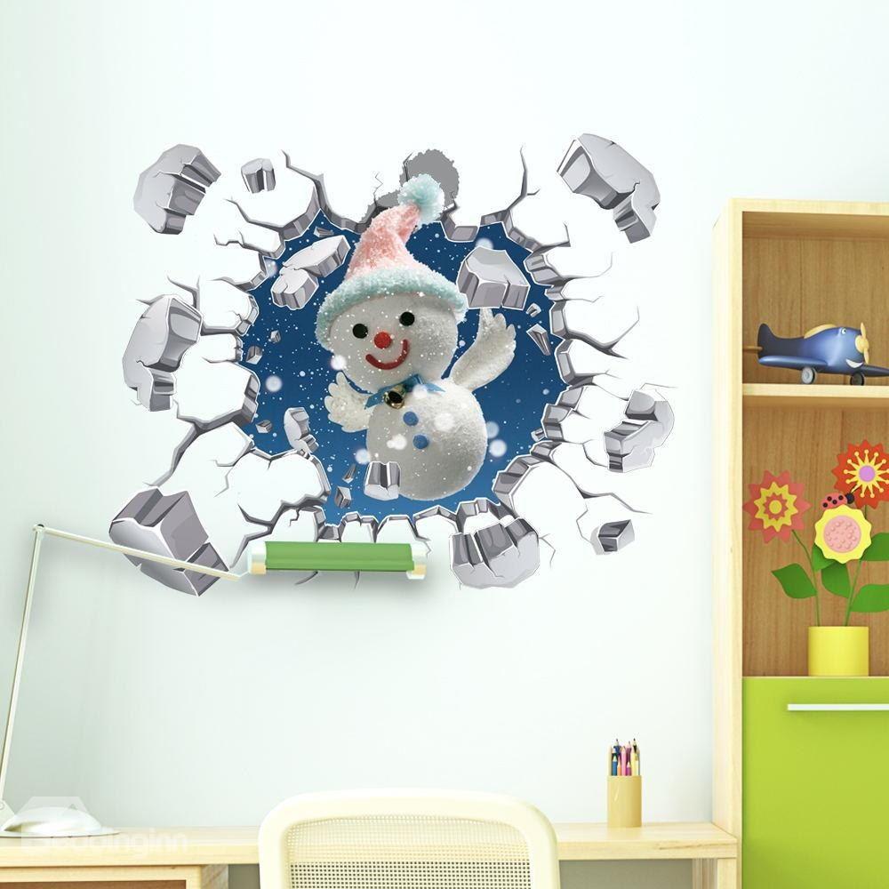 3d explosive wall snowman pvc waterproof eco friendly self on wall stickers 3d id=42446