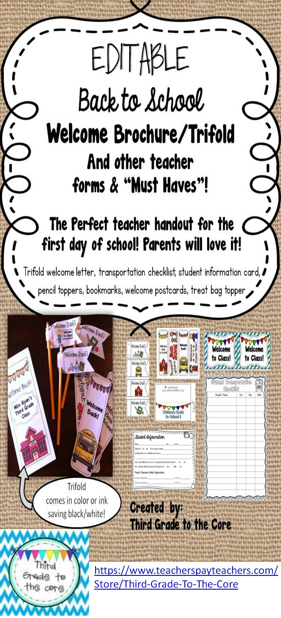 back to school welcome letter trifold