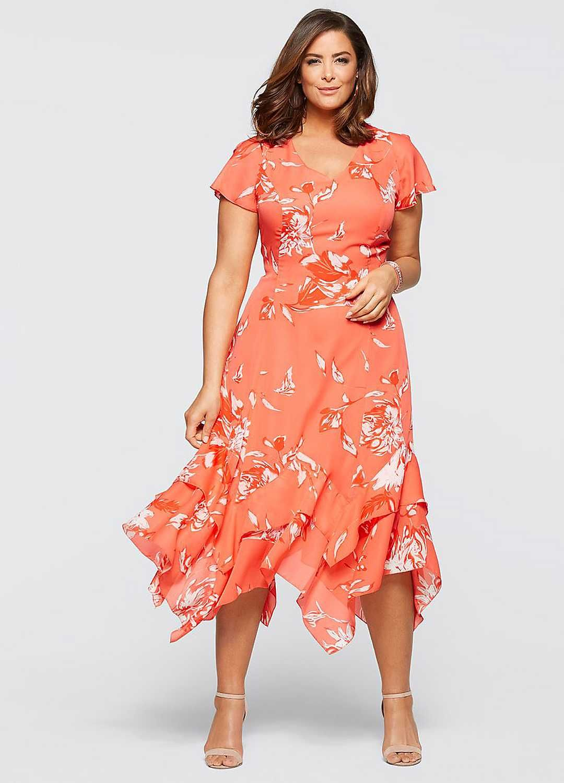 Floral Print Hanky Hem Dress by Bonprix Dresses, Bridal