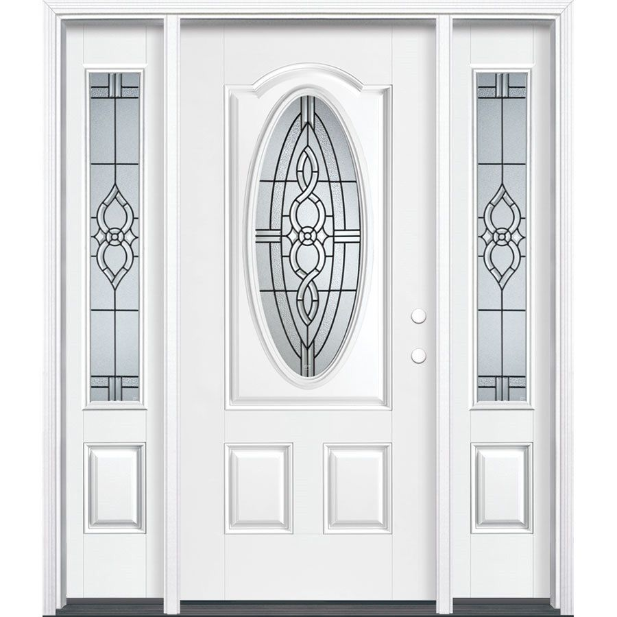 Masonite Calista 64 In X 80 In Oval Lite Decorative Glass Left Hand Inswing Arctic White Painted Fiberglass Prehung Entry Door With Sidelights With Insulating C Entry Doors Entry Door With Sidelights Glass Decor