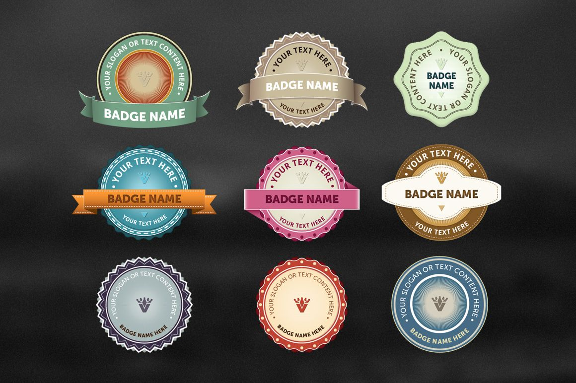9 Vintage Vector Badges - Objects - 1