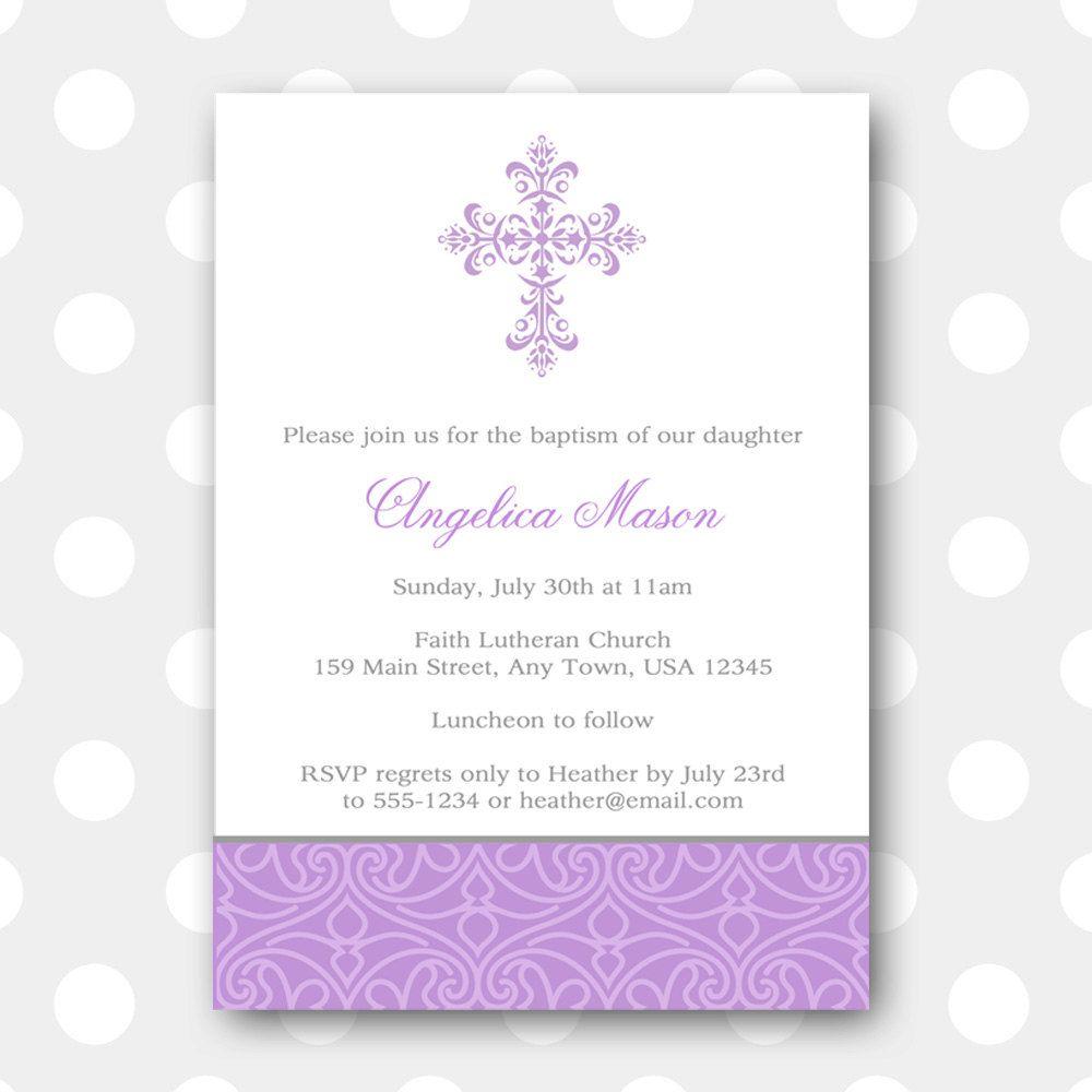 Girl Baptism Invitation, Minimalist, Cross Baptism Invite, Invites ...