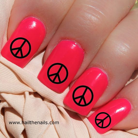 Black Peace Signs Nail Art Water Transfer Decal Y595 | Peace sign ...