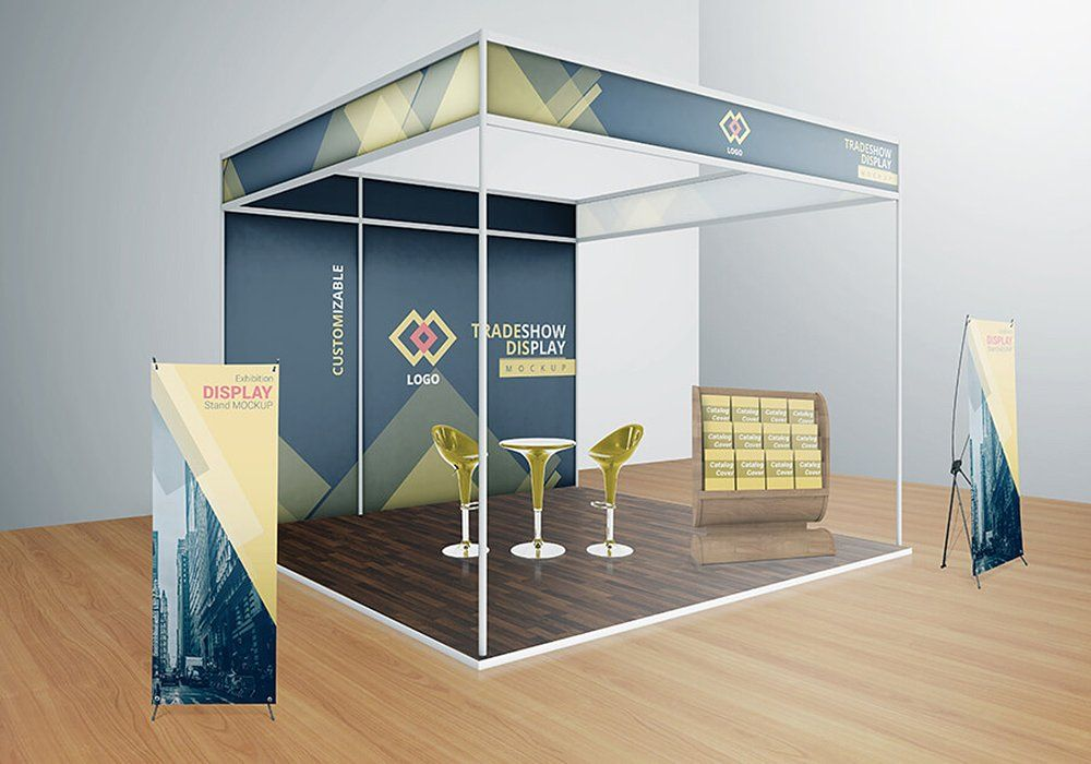 Exhibition Booth Psd : Various trade show exhibition mockup consists psd attractive