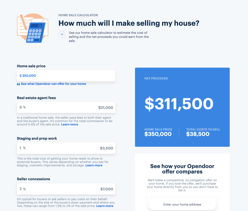 How much are closing costs for the seller Opendoor in