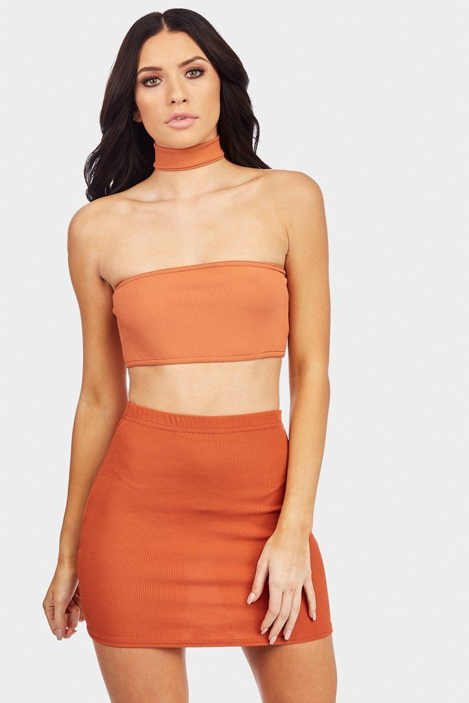 170505f83a Camel Ribbed Bandeau With Choker