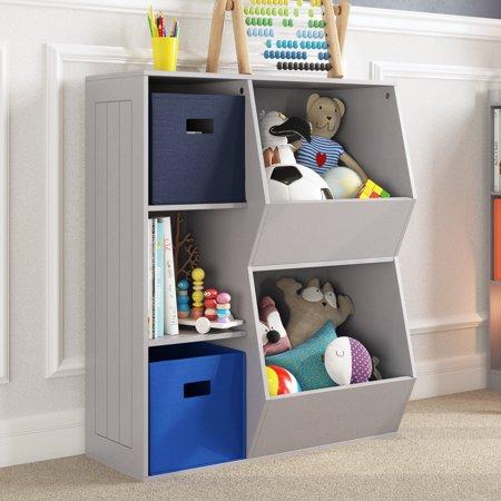 Riverridge Kids 3 Cubby 2 Veggie Bin Floor Cabinet Gray Walmart Com Kids Furniture Toy Organization Kids Room