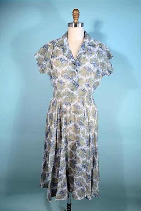 Vintage 40s White Sheer Blue Paisley Print Shirt Dress/Shirtwaist Flare Skirt Day Dress/ Rockabilly Pinup Housewife WWII Era Dress SZ S