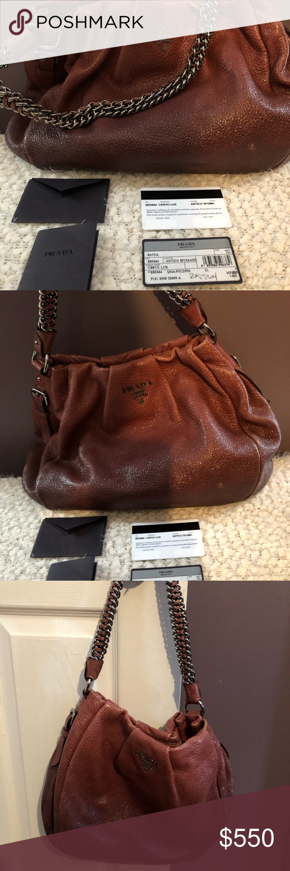 75fabbac75f2f Prada handbag sfumata antico Beautiful Prada Cervo lux handbag with chain  and leather strap. Stays