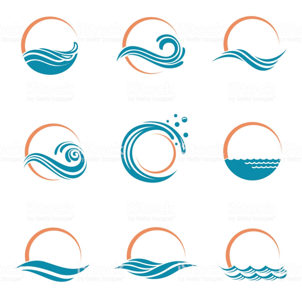 Abstract Collection Of Sun And Sea Icons Sea Logo Waves Logo Wave Illustration
